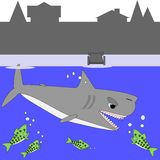 Cartoon shark and lake trout Stock Image
