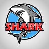 Cartoon shark mascot with blue circle on gray background. Illustration of Cartoon shark mascot with blue circle on gray background Stock Photos