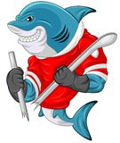 Cartoon shark mascot wearing a hockey jersey while holding a stick which was cut Stock Photography