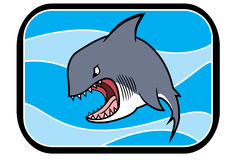 Cartoon Shark In Ocean Royalty Free Stock Photos