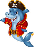 Cartoon shark pirate presenting on white background royalty free illustration