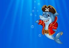 Cartoon shark pirate swimming in the ocean Stock Photo