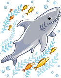 Cartoon shark in the sea surrounded by little fish. Stock Photo