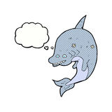 cartoon shark with thought bubble Royalty Free Stock Image
