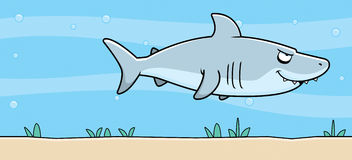 Cartoon Shark Underwater Royalty Free Stock Photography