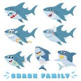 Cartoon sharks family. Newborn baby shark, comic marine father and cheerful mother sharks characters vector illustration. Cartoon sharks family. Newborn baby vector illustration