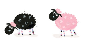 Cartoon sheep. Black and pink sheeps. Vector Illustration of funny sheeps. In 2 color variants Stock Image
