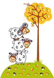 Cartoon sheep and apples Stock Photography