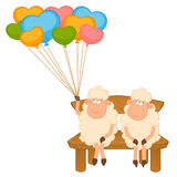 Cartoon sheep with balloons. Royalty Free Stock Image
