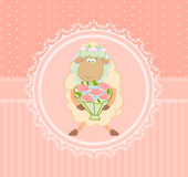 Cartoon sheep bride on background Royalty Free Stock Image