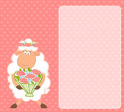 Cartoon sheep bride on pink background Stock Photo