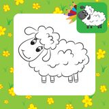 Cartoon sheep. Coloring page Stock Images