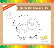 Cartoon Sheep. Dot to dot educational game for kids Royalty Free Stock Photo