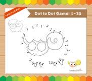 Cartoon Sheep. Dot to dot educational game for kids Royalty Free Stock Photo
