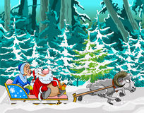 Cartoon sheep driven in a sleigh of Santa Claus and Snow Maiden. In the winter woods Stock Photo