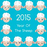 Cartoon Sheep Expressions Set Stock Images