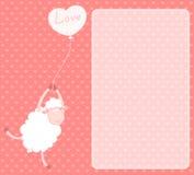 Cartoon sheep flies on a balloon Stock Image