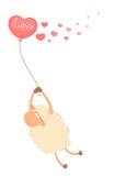 Cartoon sheep flies on a balloon Royalty Free Stock Photo