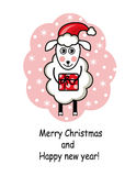 Cartoon sheep holding a gift. And Happy New Year and Merry Christmas stock illustration