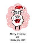 Cartoon sheep holding a gift Stock Photos