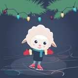 Cartoon sheep ice skating. Cute little cartoon sheep ice skating under a string of Christmas lights suspended from the branches of a Christmas tree Royalty Free Stock Photography