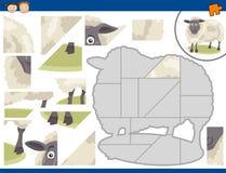Cartoon sheep jigsaw puzzle task Stock Photos