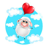 Cartoon sheep in love with heart balloon Royalty Free Stock Images
