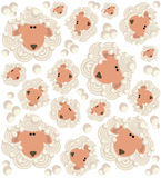Cartoon sheep pattern Royalty Free Stock Photos