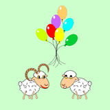 Cartoon sheep and ram with colorful balloons Royalty Free Stock Images