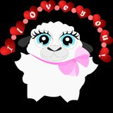 Cartoon sheep with red heart 1 Royalty Free Stock Photos