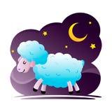 Cartoon sheep sleeping, night, moon and star. Royalty Free Stock Photography