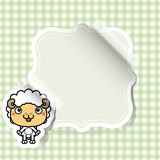 Cartoon sheep sticker with place for text Royalty Free Stock Image