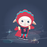 Cartoon sheep in Super Hero outfit ice skating Royalty Free Stock Photography