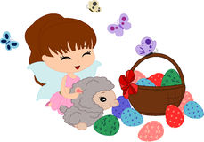 Cartoon sheep and trixie and eggs. Easter collection. Eggs in basket and a sheep and a trixie vector illustration