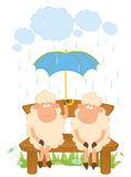 Cartoon sheep with umbrella. Royalty Free Stock Photos