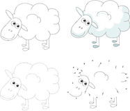 Cartoon sheep. Vector illustration. Dot to dot game for kids Royalty Free Stock Photography