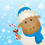 Cartoon sheep on winter background Stock Photo