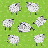 Cartoon sheeps seamless vector pattern Royalty Free Stock Images