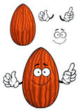 Cartoon shelled almond nut character Royalty Free Stock Photo