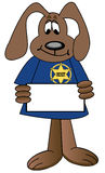 Cartoon sheriff holding sign Stock Photo