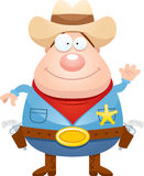 Cartoon Sheriff Waving Stock Photos