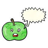 cartoon shiny apple with speech bubble Stock Images