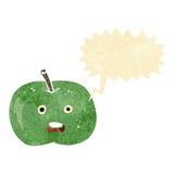 cartoon shiny apple with speech bubble Royalty Free Stock Photo