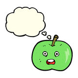 cartoon shiny apple with thought bubble Stock Photography