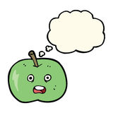cartoon shiny apple with thought bubble Royalty Free Stock Image