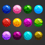 Cartoon shiny bubbles. Cute cartoon shiny bubbles. Vector element can be used for game design Royalty Free Stock Image