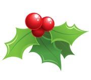 Cartoon shiny Christmas holly decorative ornament Stock Photo