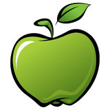 Cartoon shiny delicious green vector fresh apple with leaf Royalty Free Stock Photo