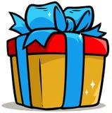 Cartoon shiny yellow present gift box. With blue ribbon. Vector icon stock illustration