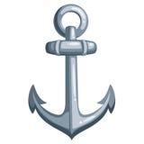 Cartoon ship anchor. Cartoon metal ship anchor. Vector illustration on white background Stock Image